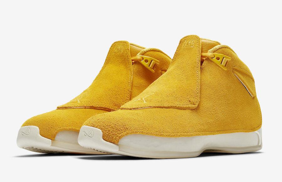 2018 Nike Jordan 18 Retro Tamaño 8-14 Air amarillo ocre Gamuza Vela Original AA2494-701