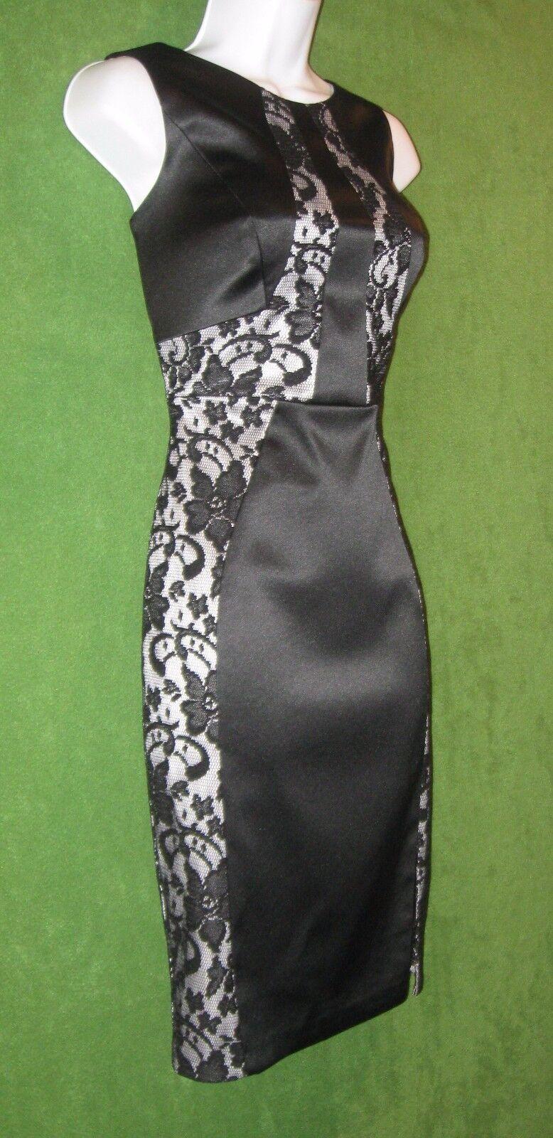 JAX schwarz Weiß Stretch Satin Lace Sheath Cocktail Social Dress 6