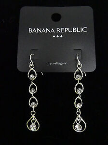 bc7fa4ca9 Image is loading New-Silver-Tone-Rhinestone-Dangle-Earrings-by-Banana-