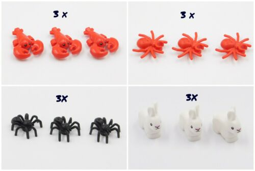 3X LEGO RED /& BLACK  SPIDERS RABBIT BUNNY LOBSTER MINIFIGURES TOWN CITY