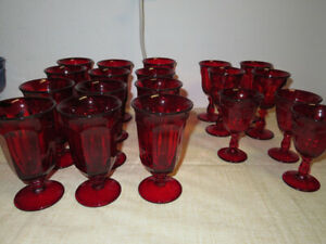 SET-of-19-RED-RUBY-Libbey-Duratuff-GIBRALTAR-Glasses-Water-Goblets-Wine-Cordial