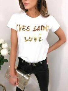 Debardeur-femme-Yves-Saint-Love-Slogan-Imprime-col-rond-a-manches-courtes-top-t-shirt