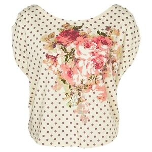 VIVI-Rose-Print-Crop-Polka-Dot-SPOT-Floral-MOTIF-Casual-Cute-Tee-T-Shirt-Top-6-8