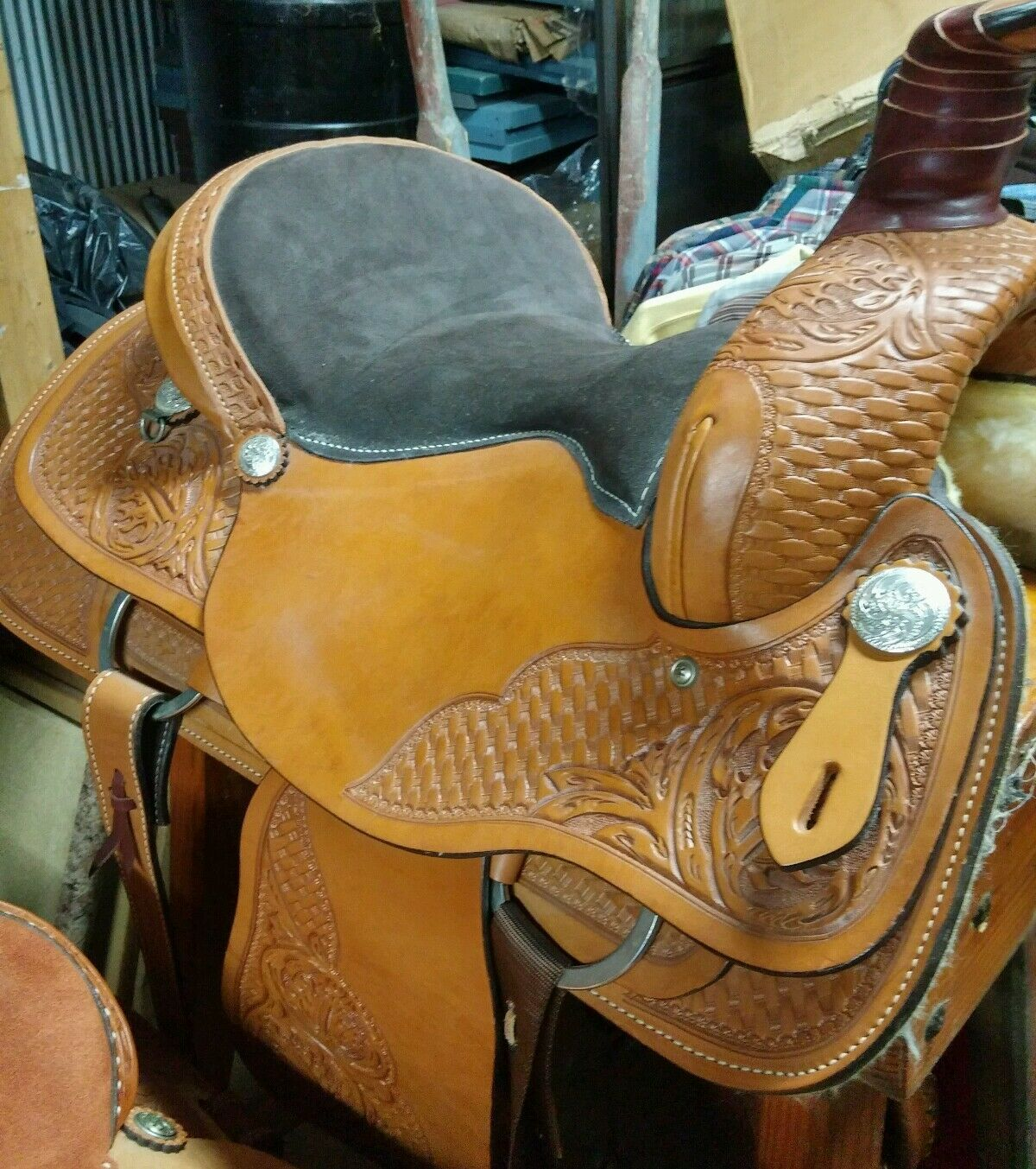 Ran Tan 15 inch Steele Equi-Fit Leather Roping   Western Saddle New  store
