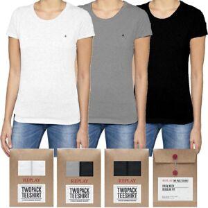 2-pack-t-shirt-maglietta-donna-REPLAY-bianco-nero-grigio-cotone-m-corta-S-M-L-XL