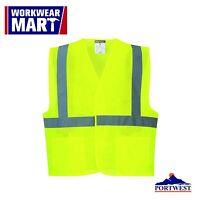 Hi Vis Reflective Mesh Vest Safety Work Ansi Class 2 Pockets, Portwest Uc492