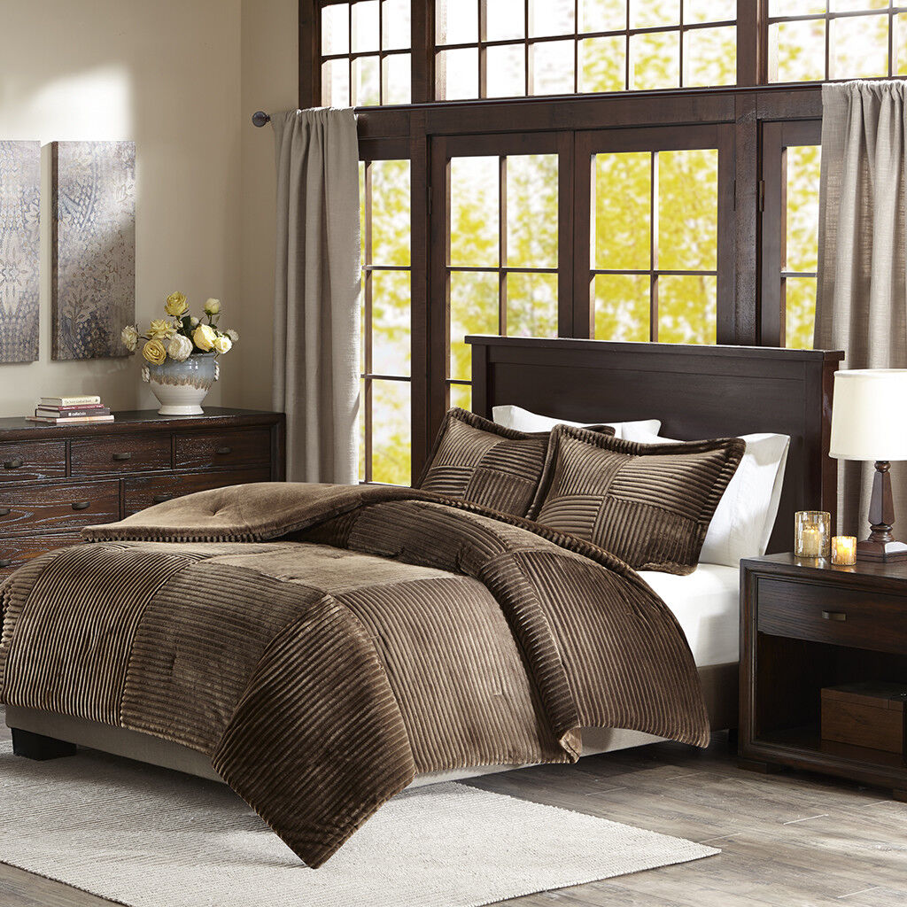 BEAUTIFUL ULTRA SOFT PLUSH LUXURY CORDUROY FAUX FUR MODERN COZY COMFORTER SET
