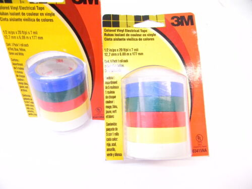 3M Colored Vinyl Electrical Tape 1//2 X 20ft Blue Green Red Yellow White 2 Packs