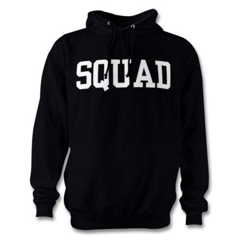 Squad sweat à capuche imprimé slogan gang logo noir unisexe ras du cou nouveauté objectifs