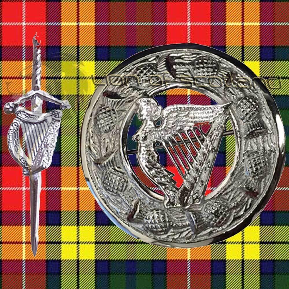 Scottish Kilt Fly Plaid Brooch Pin Irish Harp 3