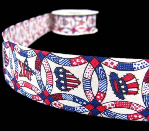 "5 Yds Patriotic Quilt Pattern USA Memorial 4th of July Craft Ribbon 1 3//8/""W"
