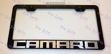 Camaro Chevy Stainless Steel Black License Plate Frame Rust Free W/ Caps