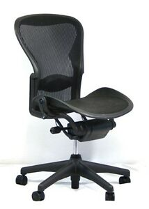 herman miller aeron mesh office desk chair no arms size b basic with