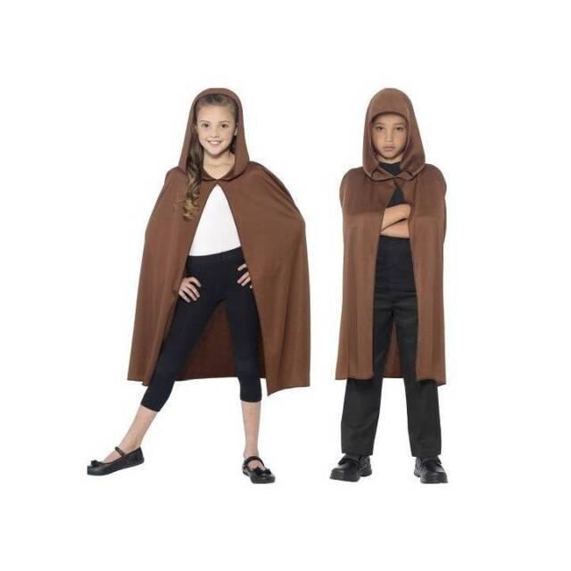 Kids Brown Hooded Cape Jedi Cloak Boys Girls Hobbit Book Week Fancy Dress
