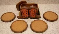 Drink Coaster Set of 4 Cowboy Boots & Hat Holder NIB