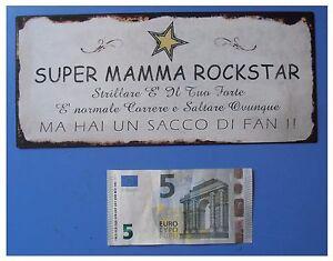 Targa-vintage-034-Super-mamma-rockstar-034-metallo-cm-25x11