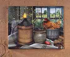 New Primitive Farmhouse Hen Chicken Apple Cider Crock Candle Lighted Picture