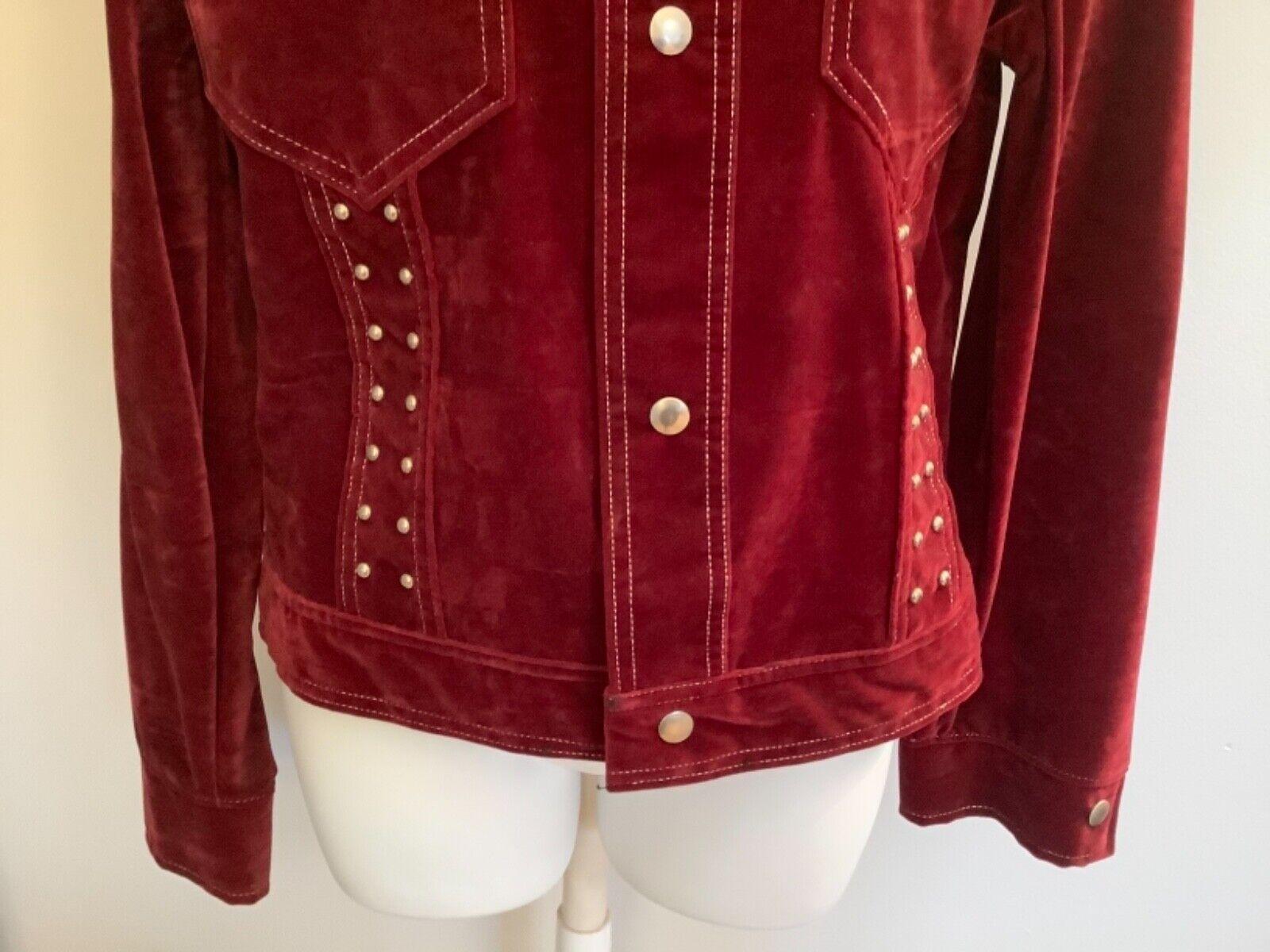 VINTAGE Women's Burgundy Red Velvet Blazer Jacket… - image 3