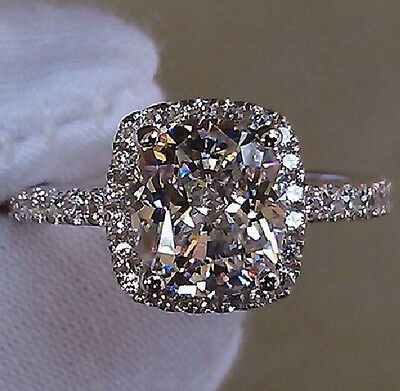 Size 5-11 Bling Jewelry Ladys 925 Silver Filled White Sapphire Wedding Ring Gift