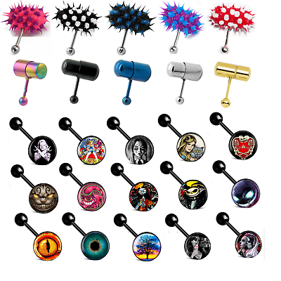 """Body Piercing Jewelry Body Jewelry 14 Gauge 5/8"""" Vibrating Tongue Ring Comes W/ Batteries Logo Barbell Piercing"""