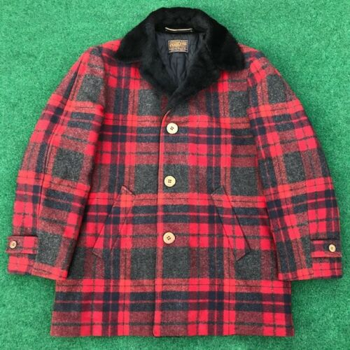 Vintage Pendleton Red Plaid Fur Collar Lined Wool