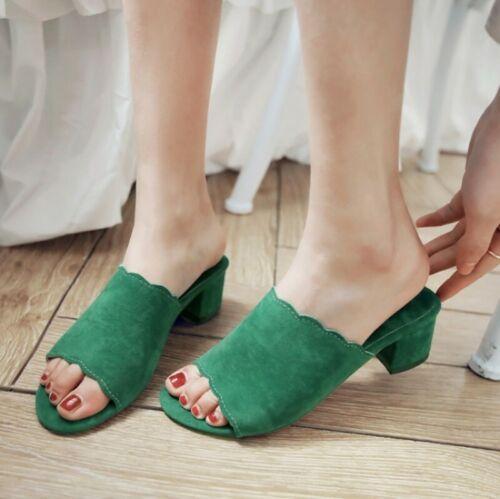 Faux Suede Slip On Summer Slipper Peep Toe Ladies Casual Sandals Pure Color Mule