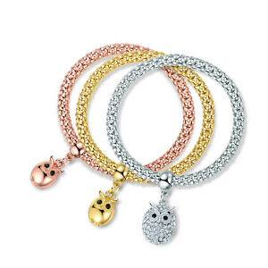 Gold Plated Tri-Gold Owl Charm Bracelet 3pcs Set