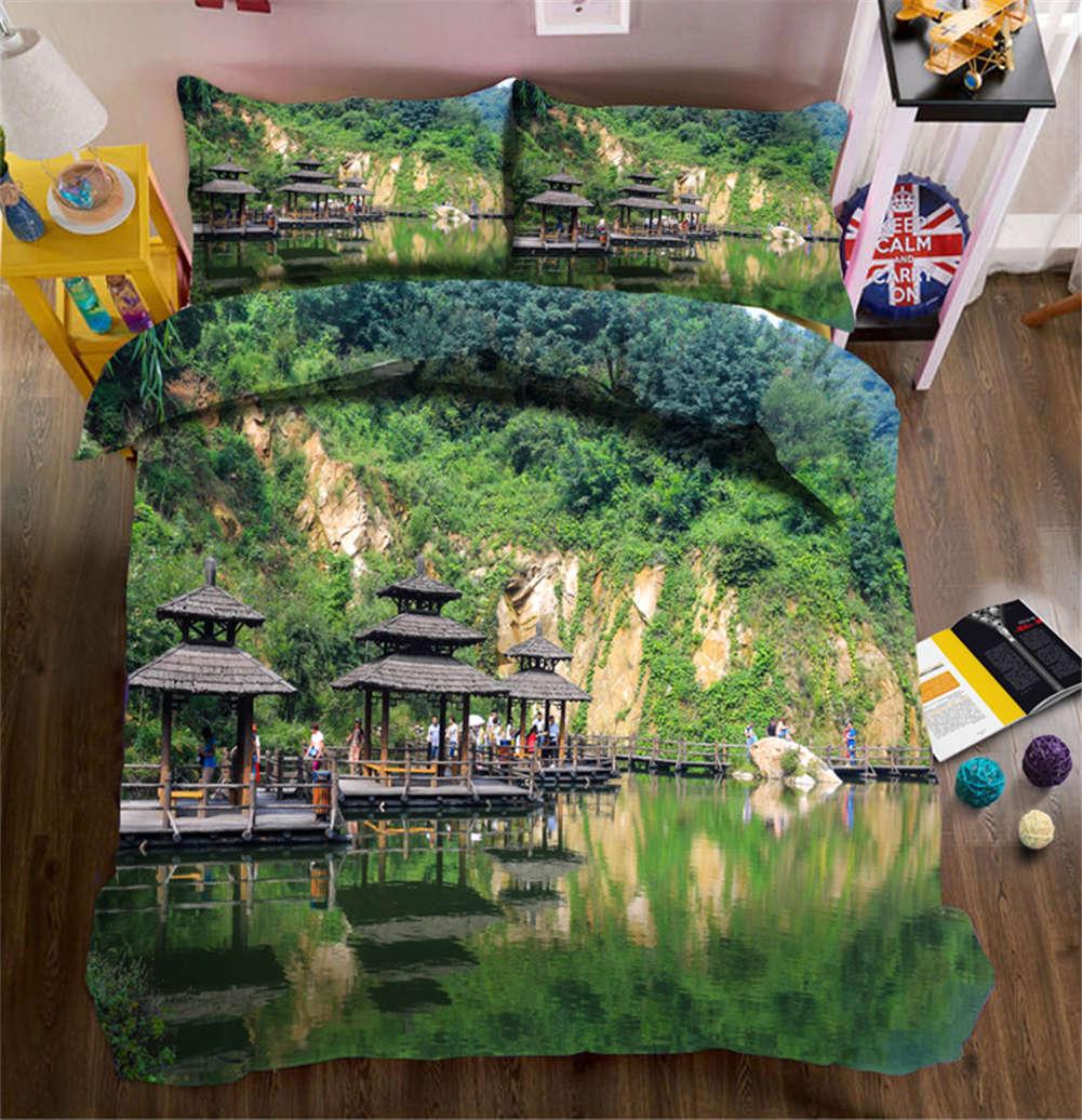 Grün Mountains 3D Printing Duvet Quilt Doona Covers Pillow Case Bedding Sets