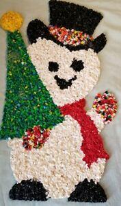 "Vtg Popcorn plastic snowman and Christmas tree Retro holiday decor 18"""