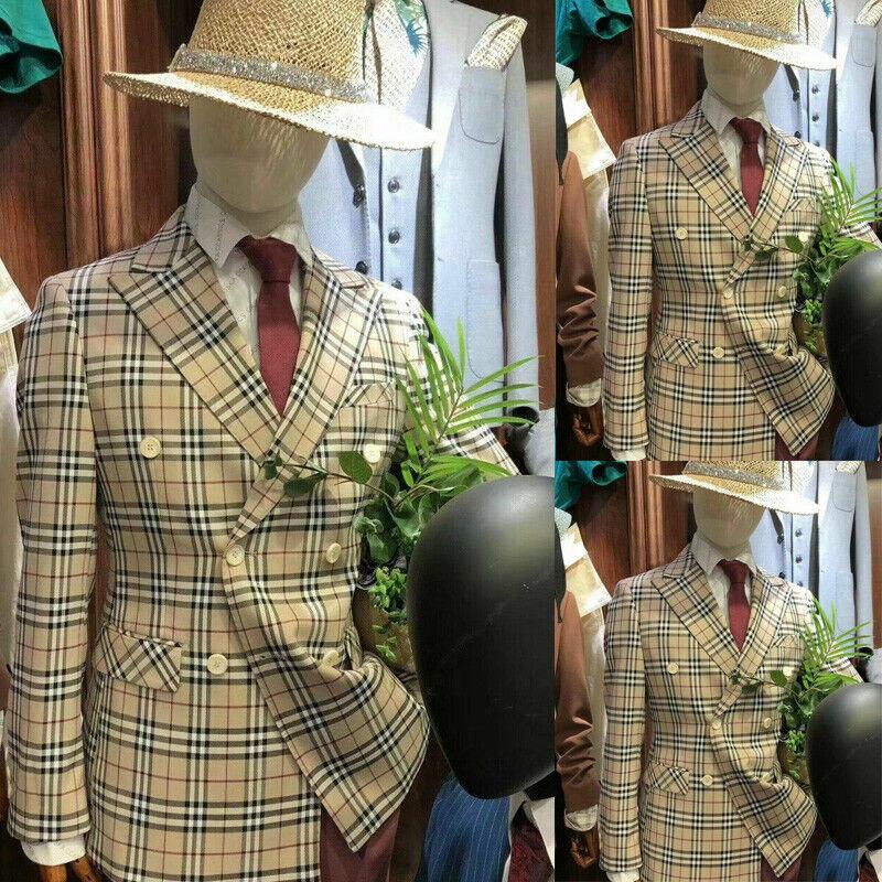 Double Breasted Plaid Men Formal Suits Party Slim Fit Tuxedo Peak Lapel Jackets