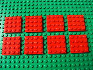 x4 NEW Lego Red Plates 4x4 Brick Building Red Baseplates