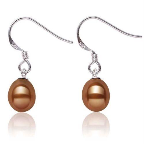 925 Sterling Silver Pearl Earrings Chocolate Freshwater Pearl Dangles 7.5mm