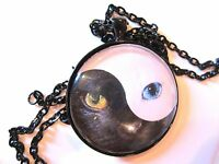 Yin Yang Black Cat White Cat Zen Awareness Symbol Glass Pendant Necklace Gothic