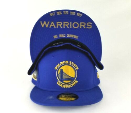 New Era Golden State Warriors 5 Champions Ring Side patch Royal 5950 Fitted Hat