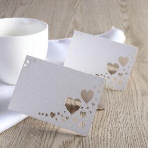 Frugal 100 Pcs Table De Mariage Nom De Lieu Cartes Seating Cards Hollow-out Heart Table Carte-afficher Le Titre D'origine