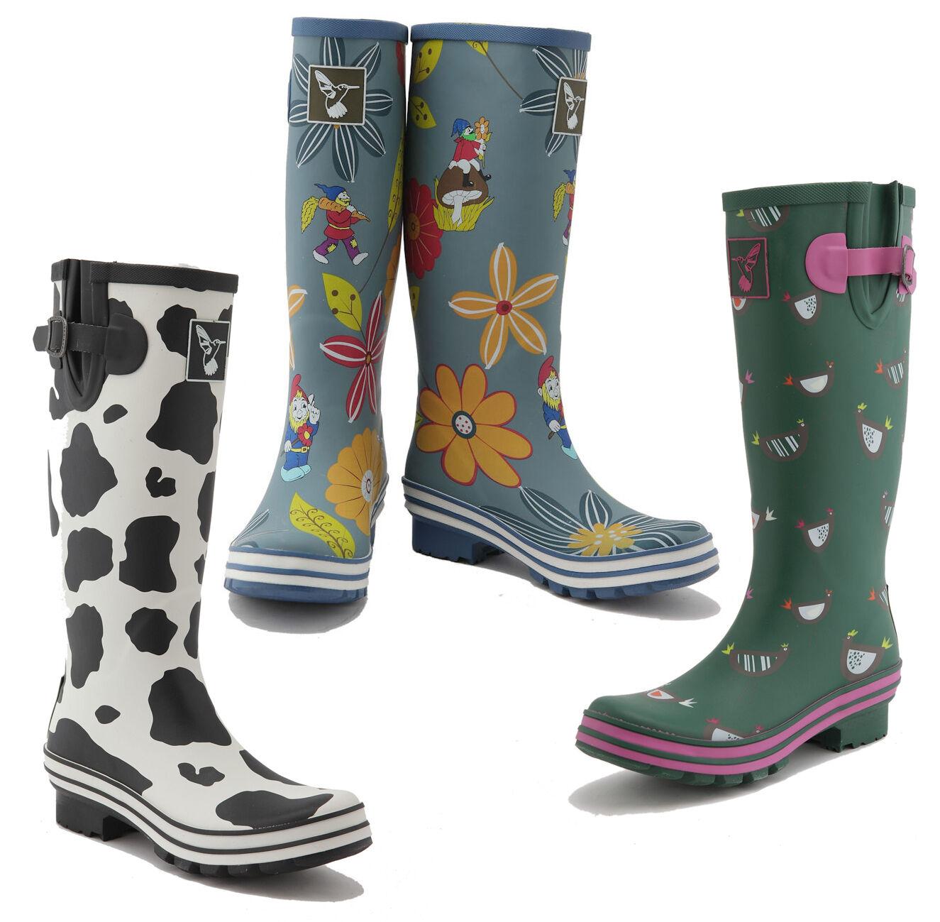 women Evercreatures Alto Stivali di gomma Stampa Animale Wellington -