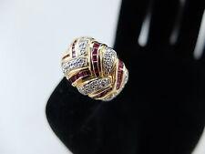 Damenring besetzt mit Rubincarrés und Diamanten - 585er Gold