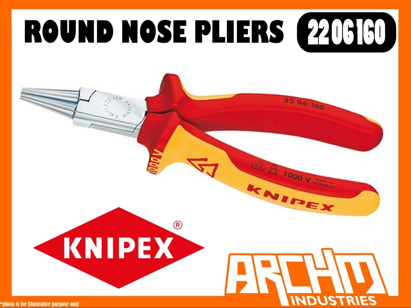 KNIPEX 2206160 - ROUND NOSE PLIERS 1000 VDE - 160MM GRIPPING WIRES BENDING STEEL