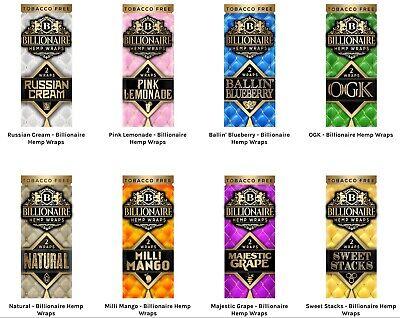 Flavors YOU Choose Kiwi Lemonade Grape Berry 8 PACKS 5 KUSH Herbal Wraps