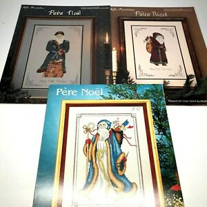3-Pere-Noel-Santa-Vtg-Cross-Stitch-Patterns-Bette-Ashley-France-Germany