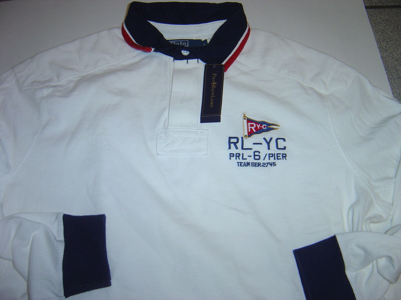 NEW MENS RALPH LAUREN WHITE   YATCH  L S RUGBY SHIRT SIZE L