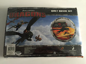 Brand-New-In-Packet-Queen-Size-Bed-Dreamworks-Dragons-Theme-Quilt-Cover-Set