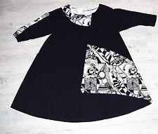M.P. BY STYLE / SHE'S CRAZY: ausgefallenes Tunika Shirt schwarz/weiss 46 - 48