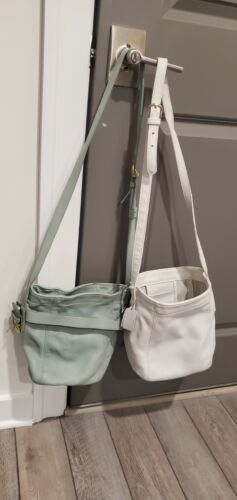 Coach Blue Green And White Leather Bucket Crossbod