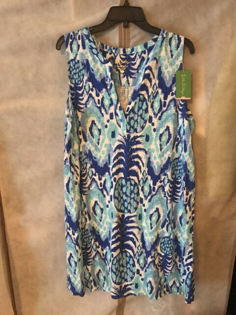 ecd8b0900c301a LILLY PULITZER NWT Dev Dress Serene Blue Tropi Call Me XL Free Shipping