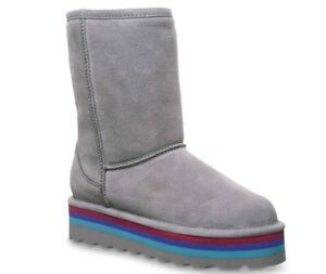 NEW WOMEN 2020 BEARPAW RETRO ELLE SHORT BOOTS GRAY FOG  COLORFUL ORIG 2486W