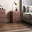 thumbnail 1 - Riano Bedside Cabinet Chest Of Drawers Walnut 3 Drawer Metal Handles Runners