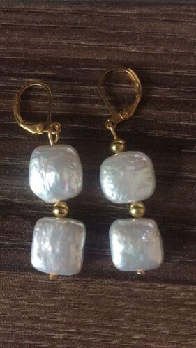 Nouveau bouton carré COIN naturelle d/'eau douce Perles Boucles d/'Oreilles Femme Or Levier Arrière