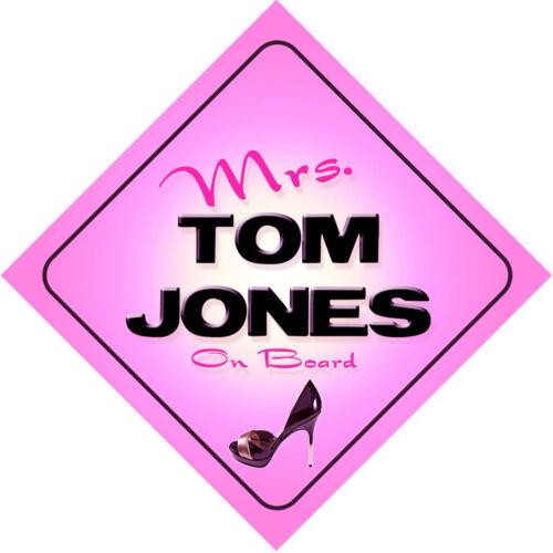 Mrs Tom Jones on Board Baby Pink Car Sign