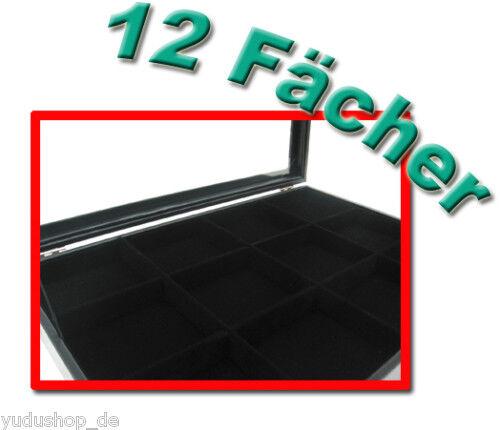Schmucklade Schaukasten mit Glasdeckel 12 Fächer